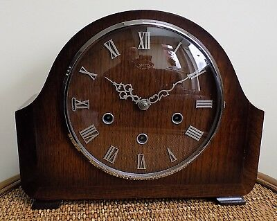 Beautiful Smiths Westminster Chime Vintage Mantle Clock with original paperwork