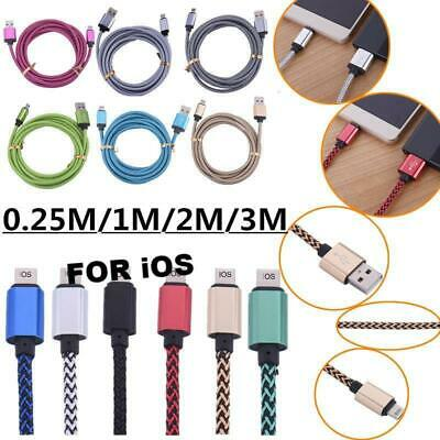 1M 2M 3M Fabric USB Data Sync Charger Cable For iPhone 10 X 11 PRO 6s MAX MESH