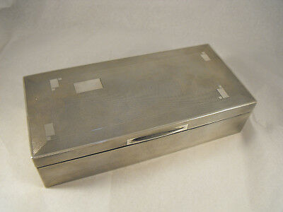 Large Engine turned Solid Silver Art Deco cigarette box, B'Ham 1931 Beddoes & Co