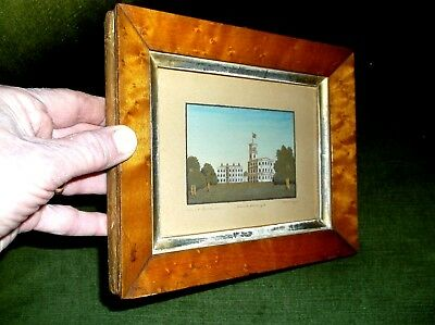 V.RARE ANTIQUE 19TH C MINIATURE FRAMED SAND PICTURE OF OSBORNE HOUSE I of W 1847