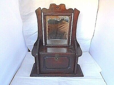 ANTIQUE Vintage FRENCH WALL MOUNTED SHAVING CABINET folk art rustic hand made