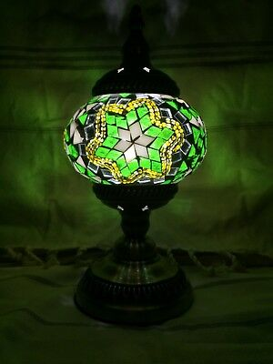 Turkish Handmade Green Glass Mosaic Lamp with Brass Plated Stand with LED bulb