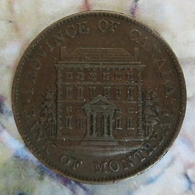 Bank Halfpenny Token -1844 - Province of Canada - Bank of Montreal
