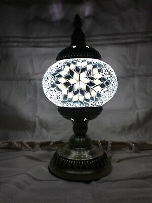Turkish Handmade White & Silver Glass Mosaic Lamp with Brass Plated Stand w/ LED