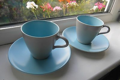 Poole Pottery Twin Tone Cups & Saucers x 2 C104 Blue Vintage British