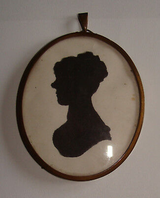 Brass Framed Miniature Silhouette Young Lady