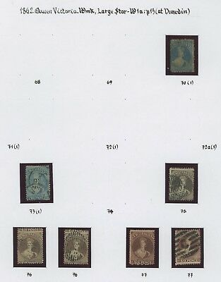 New Zealand Stamps 1862 Dunedin Perf 13 Study Page, Inc #70, #73 #75/77, Lovely