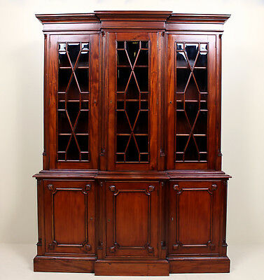 Glass Bookcase Triple Library Mahogany Glazed Display Large Cabinet Astragal
