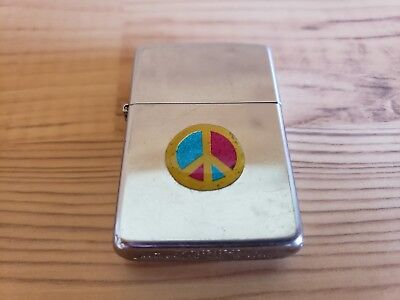 Zippo Lighter 1991 Chrome With Peace Sign / 115