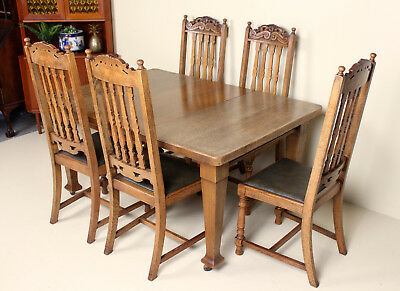 Antique Carved Oak Dining Table and 5 Chairs Fine Quality Joseph Fitter Winder