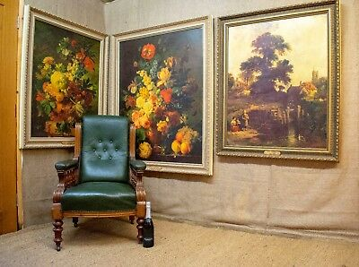 HUGE ANTIQUE STYLE OIL PAINTINGS x 3,  framed reproductions of old masters,