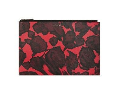 22706da3 Givenchy Women's Iconic Logo Rose Print Saffiano Leather Pouch, Red, MSRP  $495