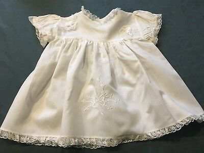 VINTAGE 1950s/60s  WHITE COTTON EMBROIDERED BABY / DOLL DRESS, 'HALO PRODUCTS'