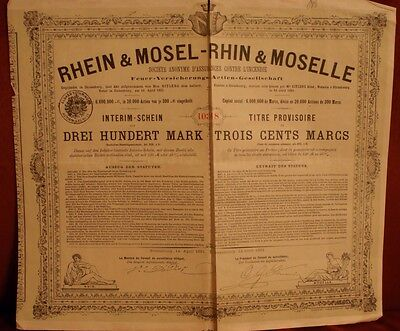 TRES RARE Action Rhin & Moselle 300 marks 1881 - Titre provisoire