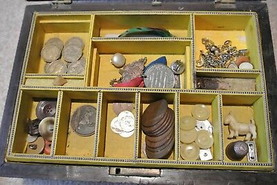Antique work jewellery box containing job lot vintage collectables coins 1918