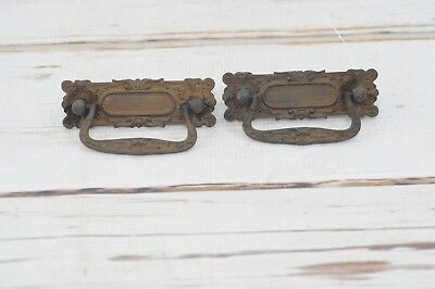 2 Antique Eastlake Victorian Ornate Drawer Pulls Hardware Handles