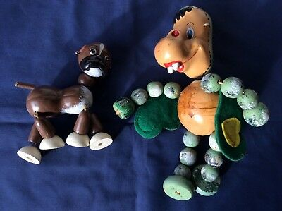 Vintage Pelham Puppets / Marionette Baby Dragon and Bengo Dog no strings or bar