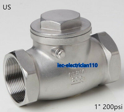 """1"""" inch Swing check valve NPT non-return Stainless steel 304 water oil Gas US"""