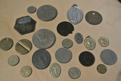 Job lot collection vintage and antique coins, tokes and pendants 1877 onwards