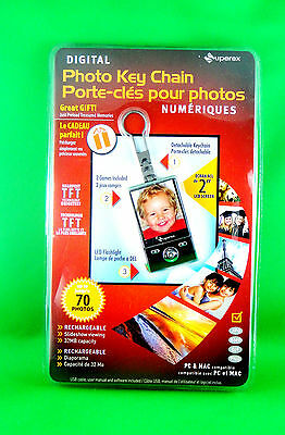 Superex Rechargeable Digital Photo Flash Light Keychain - Slideshow 2 inch LED