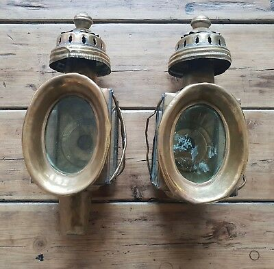 Pair of Antique Brass Carriage Lamps