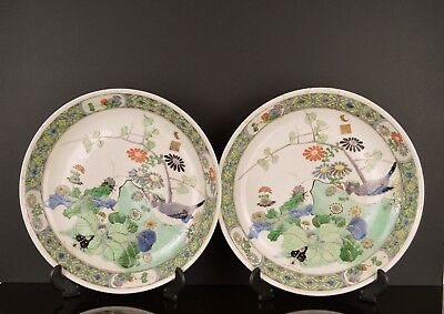 A Superb Pair Of Chinese 19Th Century Famille Verte Dishes With Artists Seal