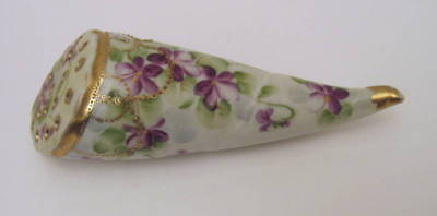 Excellent Antique Hand Painted Nippon Hatpin Holder Wall Pocket Violets #52