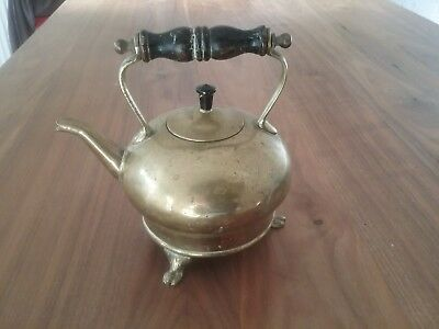 Vintage Brass Kettle On Feet With Pattern Number