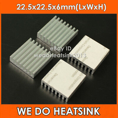 4pcs Square 22.5x22.5x6mm Aluminum IC LED Heatsink With Adhesive Thermal Tape