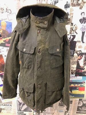 Barbour Protective Latrigg Wax Jacket Olive Green Hooded Quilted Outdoor Coat L