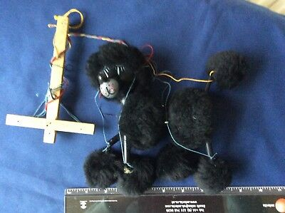 Pelham Puppet Black Poodle Dog 1960s VINTAGE TOY CLASSIC Made in England