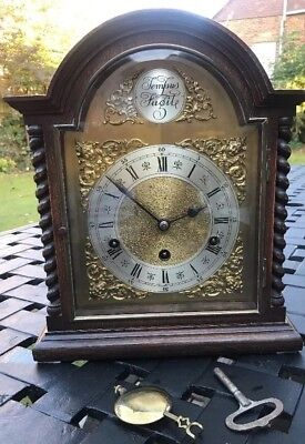 Antique Oak German Westminster Chime Bracket Clock - Pull Repeat 1900