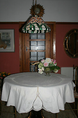 """Beautiful Vintage French Round 62"""" Diameter Maderia Tablecloth."""