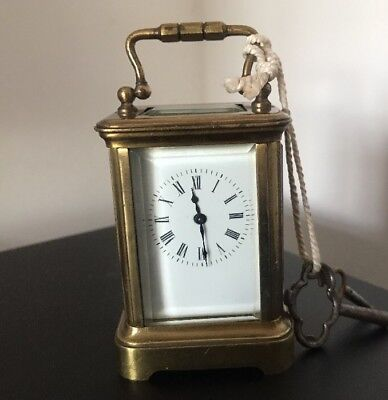 ANTIQUE FRENCH MINIATURE BRASS CARRIAGE CLOCK & KEYS @  1900 French