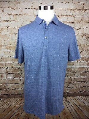 Banana Republic Vintage Large Polo 3 Button shirt Mens Blue Short Sleeve (H1)