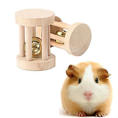 1PC Natural Wood Chew Toys Bell Roller Dumbells For Pet Rabbits Hamsters Rat P0C