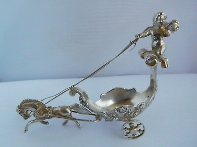 "Wonderful Vintage / Antique ""bagues"" Solid Silver Chariot Salt"