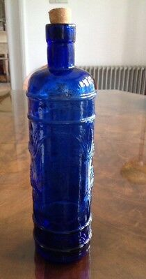 Beautiful Blue Glass Decorative Bottle With Cork Stopper