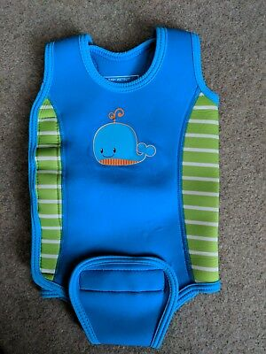 Mothercare baby wetsuit 6-12 months - blue with velcro fastening