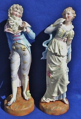 "Pair Large 22"" Antique Signed French Porcelain Boy Girl Couple Figurines #5249"
