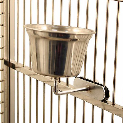 Stainless Steel Cup for Parrots and Birds - Medium - Hardwearing - African Greys