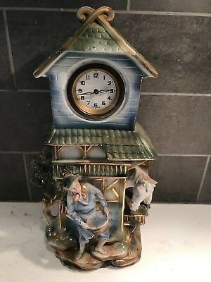 Vintage Working Wind Up Porcelain Mantle Clock Made in West Germany