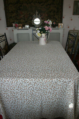 """Huge 88"""" x 68"""" Vintage French Small Floral Design Tablecloth."""