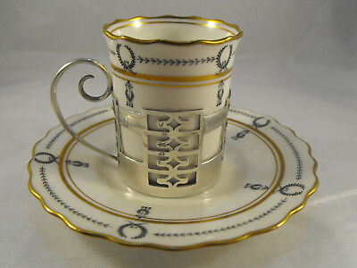 Art Deco Aynsley cup + saucer in silver holder, S'field 1922, Walker & Hall