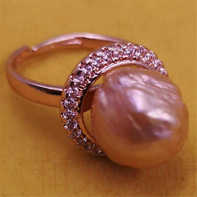 Peacock violet elegant Cultured HUGE 13-14MM purple pink pearl ring 18K Women