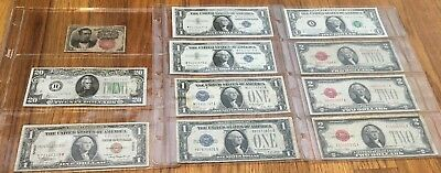 11 bills-mixed lot US notes-1874 10 cents,$1 silver certificates & red $2 bills