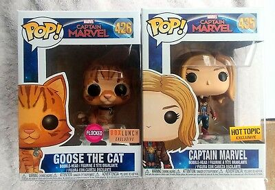 Funko Pop! Captain Marvel Hot topic / Flocked Goose the cat Box Lunch Exclusives
