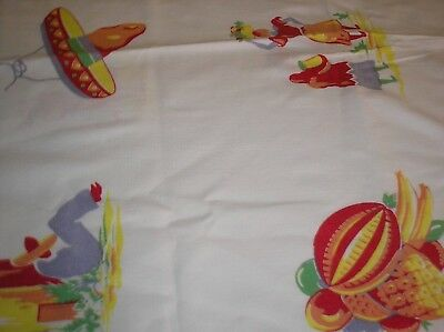 "48x48"" 50'S COTTON MEXICAN SOUTHWEST TABLECLOTH MULTI COLORED"