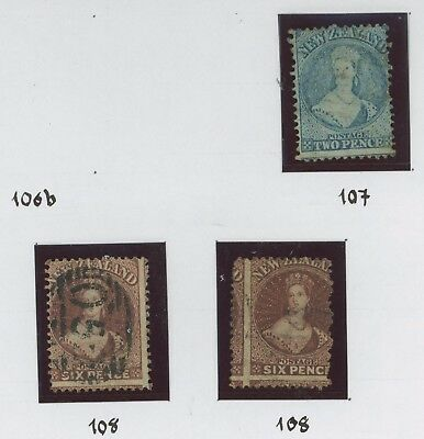 NEW ZEALAND STAMPS 1864 AUCKLAND PERF 12.5 SG #107 & #108 x2, VFU GROUP
