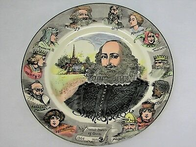 Royal Doulton D6303 Shakespeare Portrait Collectors Plate with Characters on rim